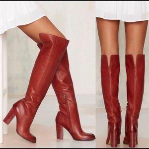 Sam Edelman Rylan Red Leather Thigh High Heel Boot